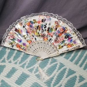 Other - Decorative floral patterned fan with lace trim
